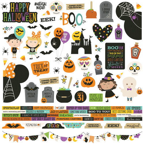 Say Cheese Halloween Collection 12 x 12 Combo Cardstock Scrapbook Sticker Sheet by Simple Stories