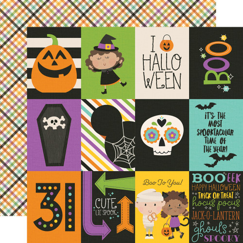 Say Cheese Halloween Collection 3 x 4 Elements 12 x 12 Double-Sided Scrapbook Paper by Simple Stories
