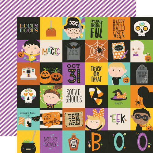 Say Cheese Halloween Collection 2 x 2 Elements 12 x 12 Double-Sided Scrapbook Paper by Simple Stories