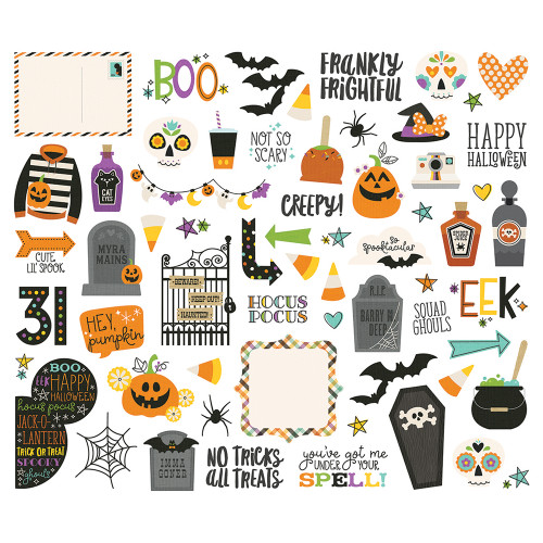 Say Cheese Halloween Collection Bits & Pieces Scrapbook Die Cut Embellishments by Simple Stories - 62 Pieces