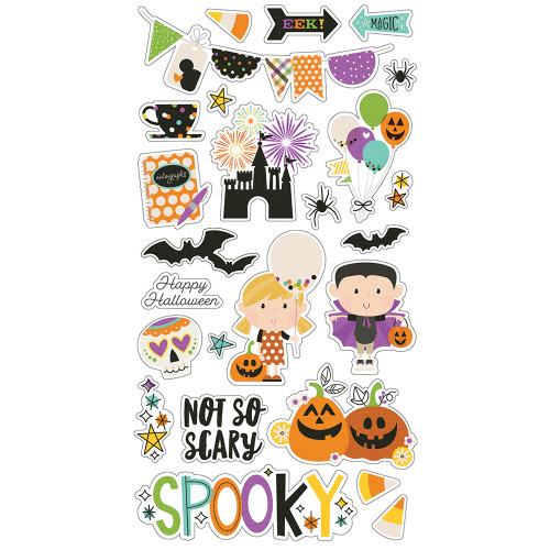 Say Cheese Halloween Collection 6 x 12 Chipboard Scrapbook Sticker Sheet by Simple Stories