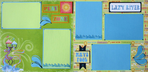 Waterpark Splash Zone Pre-Made, Hand-Embellished 2- 12 x 12 Scrapbook Page Layouts by SSC Designs