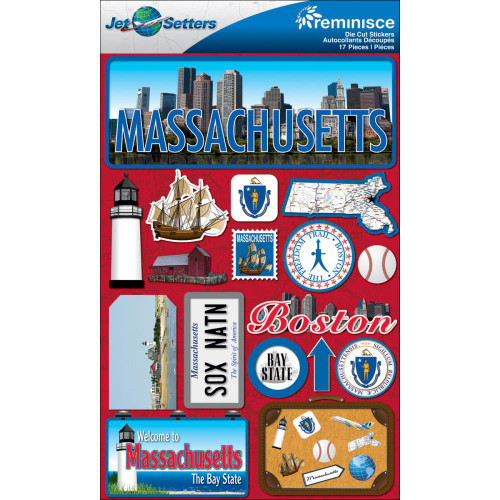 Jetsetter Collection Massachusetts 5 x 7 Scrapbook Embellishment by Reminisce