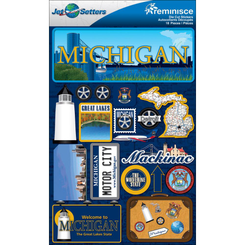 Jetsetter Collection Michigan 5 x 7 Scrapbook Embellishment by Reminisce