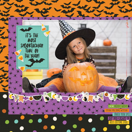 Say Cheese Halloween Collection 4.5 x 4.5 Happy Kids Bits & Pieces Scrapbook Die Cut Embellishments by Simple Stories - 28 Pieces
