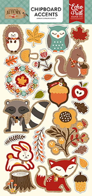 Celebrate Autumn Collection Chipboard Accents 6 x 12 Adhesive Scrapbook Chipboard by Echo Park Paper