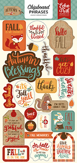Celebrate Autumn Collection Chipboard Phrases 6 x 12 Adhesive Scrapbook Chipboard by Echo Park Paper