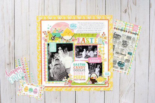 Easter Wishes Collection 3 x 6 Adhesive Enamel Shapes Scrapbook Embellishments by Echo Park Paper