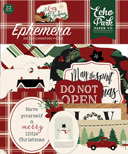 A Cozy Christmas Collection  4 x 4 Ephemera Die Cut Scrapbook Embellishments by Echo Park Paper