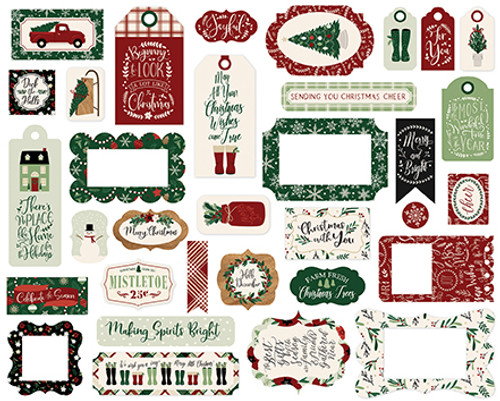 A Cozy Christmas Collection 4 x 4 Frames & Tags Die Cut Scrapbook Embellishments by Echo Park Paper