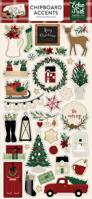 A Cozy Christmas Collection 6 x 13 Chipboard Accents Scrapbook Embellishments by Echo Park Paper