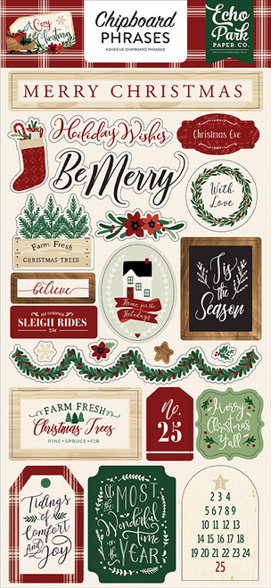 A Cozy Christmas Collection 6 x 13 Chipboard Phrases Scrapbook Embellishments by Echo Park Paper