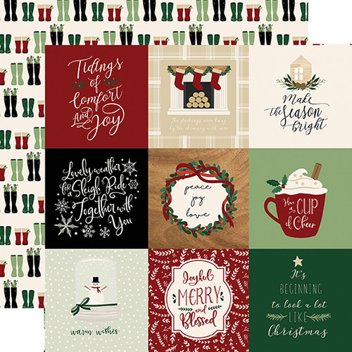 A Cozy Christmas Collection 4X4 Journaling Cards 12 x 12 Double-Sided Scrapbook Paper by Echo Park Paper