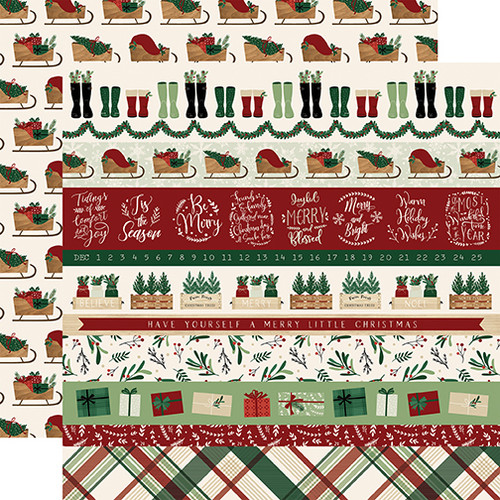 A Cozy Christmas Collection Border Strips 12 x 12 Double-Sided Scrapbook Paper by Echo Park Paperv
