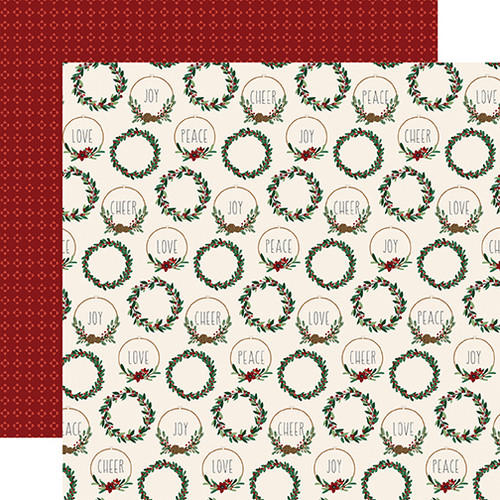A Cozy Christmas Collection Christmas Cheer 12 x 12 Double-Sided Scrapbook Paper by Echo Park Paper