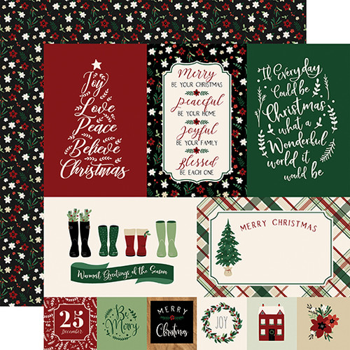 A Cozy Christmas Collection Journaling Cards 12 x 12 Double-Sided Scrapbook Paper by Echo Park Paper