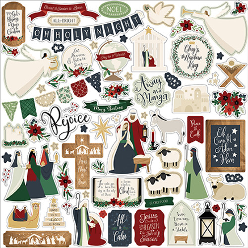 Away In A Manger Collection 12 x 12 Scrapbook Sticker Sheet by Echo Park Paper