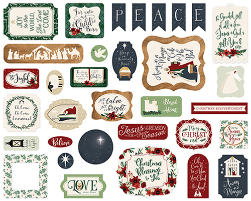 Away In A Manger Collection 4 x 4 Ephemera Die Cut Scrapbook Embellishments by Echo Park Paper