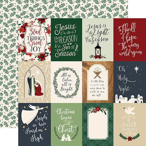 Away In A Manger Collection 3 x 4 Journaling Cards 12 x 12 Double-Sided Scrapbook Paper by Echo Park Paper