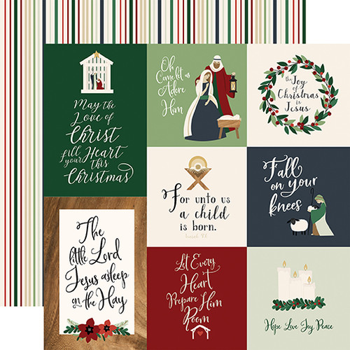 Away In A Manger Collection Journaling Cards 12 x 12 Double-Sided Scrapbook Paper by Echo Park Paper