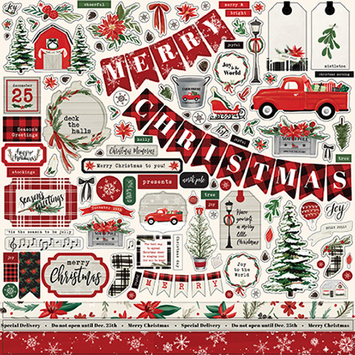 Christmas Market  Collection  12 x 12 Scrapbook Sticker Sheet by Carta Bella
