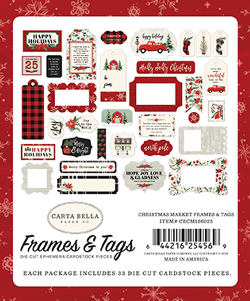 Christmas Market Collection 4 x 4 Frames & Tags Die Cut Scrapbook Embellishments by Carta Bella