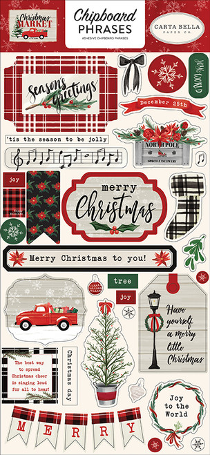 Christmas Market Collection 6 x 13 Chipboard Phrases Scrapbook Embellishments by Carta Bella