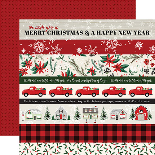 Christmas Market Collection Border Strips 12 x 12 Double-Sided Scrapbook Paper by Carta Bella