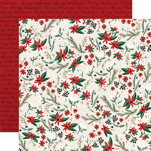 Christmas Market Collection Holiday Floral 12 x 12 Double-Sided Scrapbook Paper by Carta Bella
