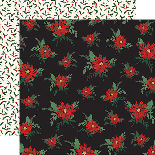 Christmas Market Collection Poinsettias 12 x 12 Double-Sided Scrapbook Paper by Carta Bella