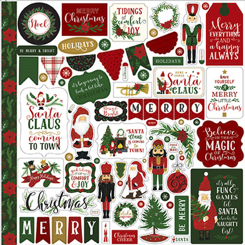 Here Comes Santa Claus Collection 12 x 12 Scrapbook Sticker Sheet by Echo Park Paper
