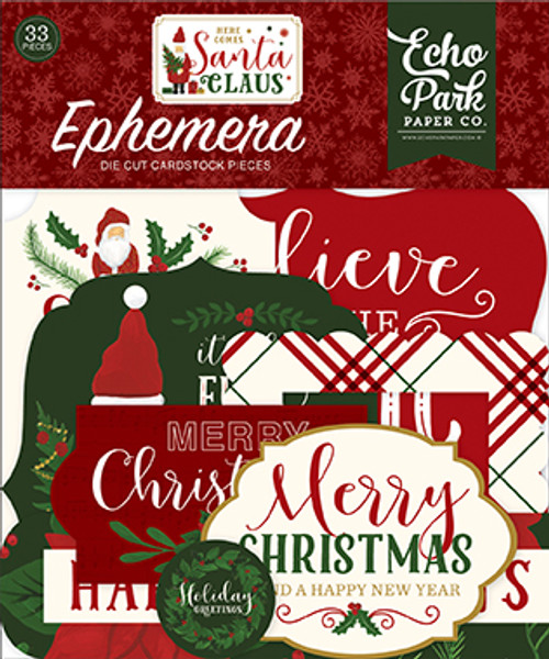 Here Comes Santa Claus Collection 4 x 4 Ephemera Die Cut Scrapbook Embellishments by Echo Park Paper