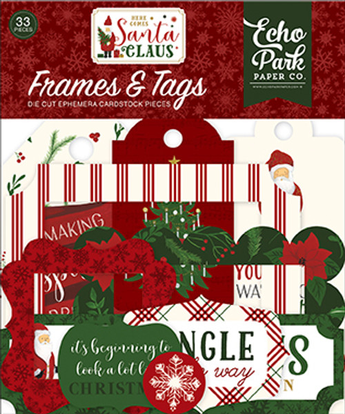 Here Comes Santa Claus Collection 4 x 4 Frames & Tags Die Cut Scrapbook Embellishments by Echo Park Paper
