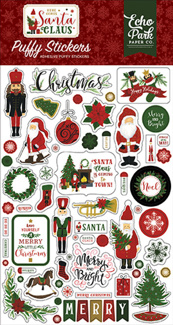 Here Comes Santa Claus Collection 4 x 6 Puffy Stickers Scrapbook Embellishments by Echo Park Paper