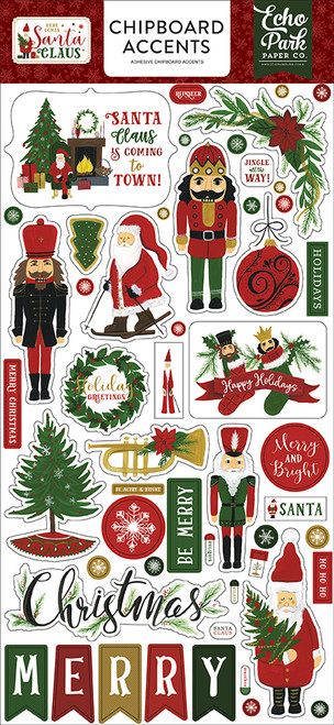 Here Comes Santa Claus Collection 6 x 13 Chipboard Accents Scrapbook Embellishments by Echo Park Paper