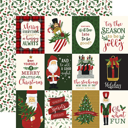 Here Comes Santa Claus Collection 3 x 4 Journaling Cards 12 x 12 Double-Sided Scrapbook Paper by Echo Park Paper