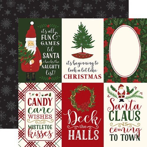 Here Comes Santa Claus Collection 4 x 6 Journaling Cards 12 x 12 Double-Sided Scrapbook Paper by Echo Park Paper