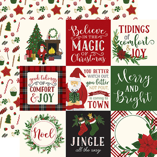 Here Comes Santa Claus Collection 4X4 Journaling Cards 12 x 12 Double-Sided Scrapbook Paper by Echo Park Paper