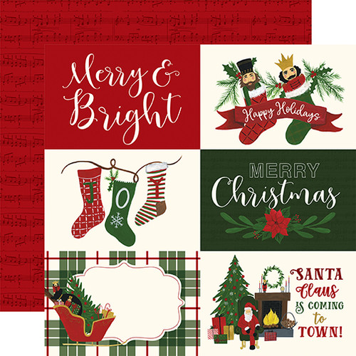 Here Comes Santa Claus Collection 6 x 4 Journaling Cards 12 x 12 Double-Sided Scrapbook Paper by Echo Park Paper