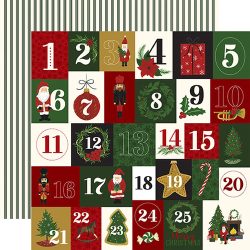 Here Comes Santa Claus Collection Twenty-Five Days 12 x 12 Double-Sided Scrapbook Paper by Echo Park Paper