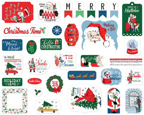 Merry Christmas Collection 4 x 4 Ephemera Die Cut Scrapbook Embellishments by Carta Bella