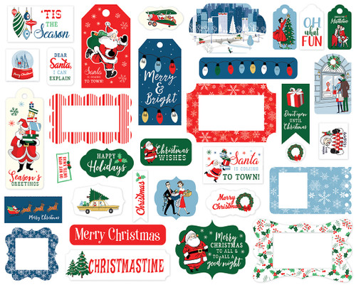 Merry Christmas Collection 4 x 4 Frames & Tags Die Cut Scrapbook Embellishments by Carta Bella
