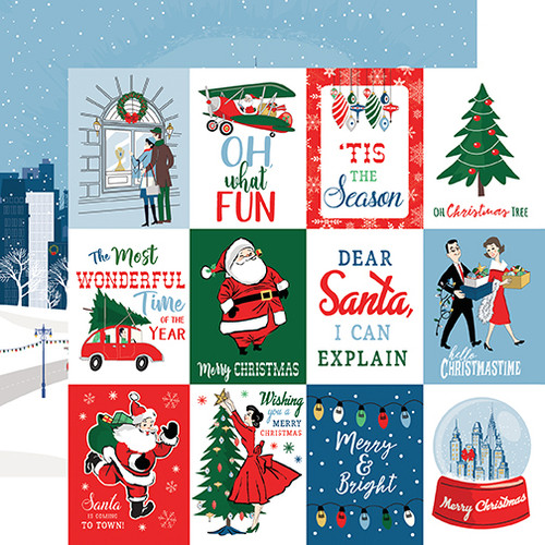 Merry Christmas Collection 3 x 4 Journaling Cards 12 x 12 Double-Sided Scrapbook Paper by Carta Bella
