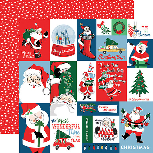 Merry Christmas Collection Christmas Squares 12 x 12 Double-Sided Scrapbook Paper by Carta Bella