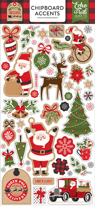 My Favorite Christmas Collection 6 x 13 Chipboard Accents Scrapbook Embellishments by Echo Park Pape