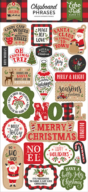 My Favorite Christmas Collection 6 x 13 Chipboard Phrases Scrapbook Embellishments by Echo Park Paper