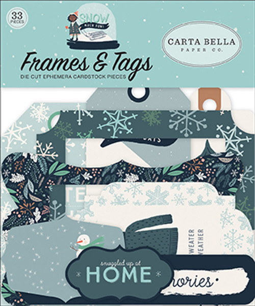 Snow Much Fun Collection 4 x 4 Frames & Tags Die Cut Scrapbook Embellishments by Carta Bella