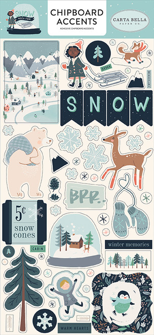 Snow Much Fun Collection 6 x 13 Chipboard Accents Scrapbook Embellishments by Carta Bella