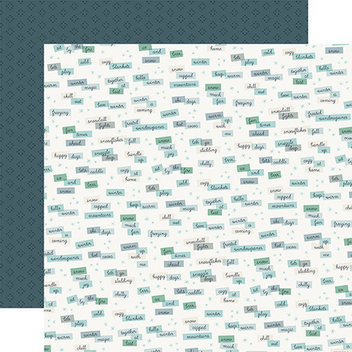 Snow Much Fun Collection Winter Words 12 x 12 Double-Sided Scrapbook Paper by Carta Bella