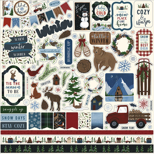 Warm & Cozy Collection 12 x 12 Scrapbook Sticker Sheet by Echo Park Paper